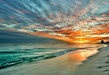 Yellow-Sunray-through-Red-and-Blue-Sunset-on-Beach art