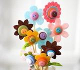 Felt & button flowers