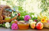 Flowers, basket, apples, honey, asters
