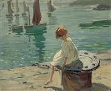 Dorothea Sharp, A girl on a sunlit quayside, St. Ives