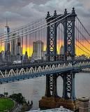 Sunset over a Storm overlooking Manhattan Bridge