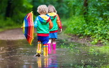 Rain, children, boots, umbrella, puddle, fun