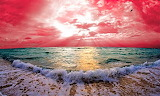 #Ocean Waves and Pink Sunset