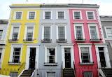 House yellow grey pink exterior