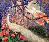 Peacock &Cockatoo in a Garden~JesseArmsBotke