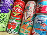Cans, soft drinks, tea, juices