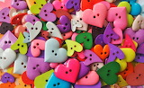 Colorful array of heart buttons