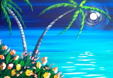 Beachscape in the moonlight