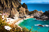 Secluded Beach with Waterfall California USA
