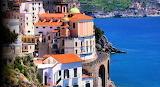 Italy view of Amalfi coast and sea
