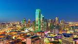 Colorful Night Lights Dallas Texas USA