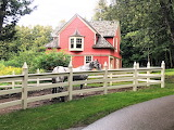 Red house with horses Mackinac Island Michigan