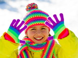 Girl, winter, scarf, gloves, colourful, happy, child, kid