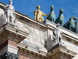 building with sculptures