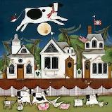 ^ Cow Moon ~ Wilson & Wilson Folk Art