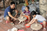 Family, father, children, man, girl, boy, pottery, clay, laughin