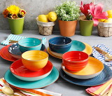 Tableware set, crockery, bowls, vases, flowers, colorful