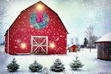 Red barn with Christmas decoration
