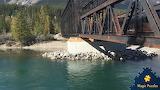 Rusty bridge over Policeman's Creek near Canmore, Alberta, Canad