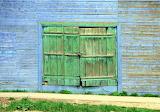 Blue Barn Green Door