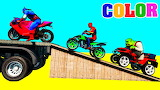Motorbike w Spiderman Cars Cartoon For Kids