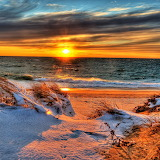 *Snow on the Beach at Sunset...
