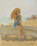 Isaac Israels,A young lady with a parasol on the beach