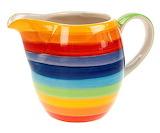 Rainbow striped ceramic milk jug