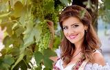 Leaves, girl, decoration, smile, makeup, grapes, brown hair, cur
