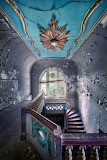 Staircase in abandoned Polish mansion