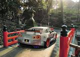 Car, sports car Nissan, Silver, Libertywalk, park, trees, lanter