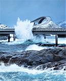 Winter storm Storseisundet Bridge Norway