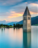 Bell tower in Lake Resia Italy