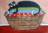 Cat-on-Laundry-Basket by Cristina Quimby