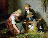 Feeding The Rabbits by George Dunlop Leslie