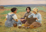 Lunch break in the fields by Charles Sprague Pearce