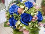Blue rose basket