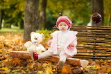 Autumn Teddy bear Little girls Glance Sitting 554790 1280x853
