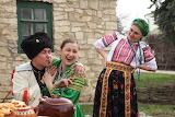 Russian people in traditional clothing