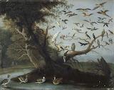 Jan I Van Kessel - L'arbre aux oiseaux