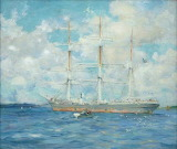 French Barque in Falmouth Bay by Henry Scott Tuke 1902