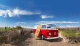 VW campervan on beach