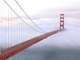 Golden Gate Bridge in Fog San Francisco California USA