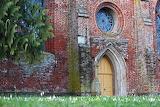 Church, brick building, doorway, rose window, old