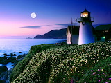 ~ Moon Rise Over Point Montara Lighthouse, California...