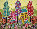 ^ Houses Trees Flowers Painting by Karla Gerard