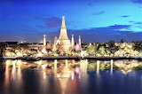 Temple of Dawn Thailand reflected in water