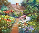 Colorful path to cottage
