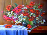 Still Life Daisies and Poppies