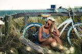 Summer, girl, bike, nature, fence